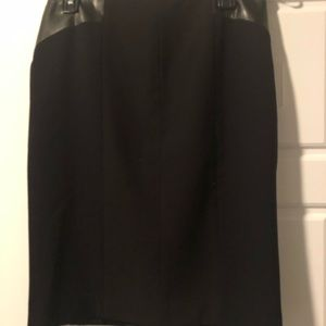Calvin Klein suiting skirt with faux leather.